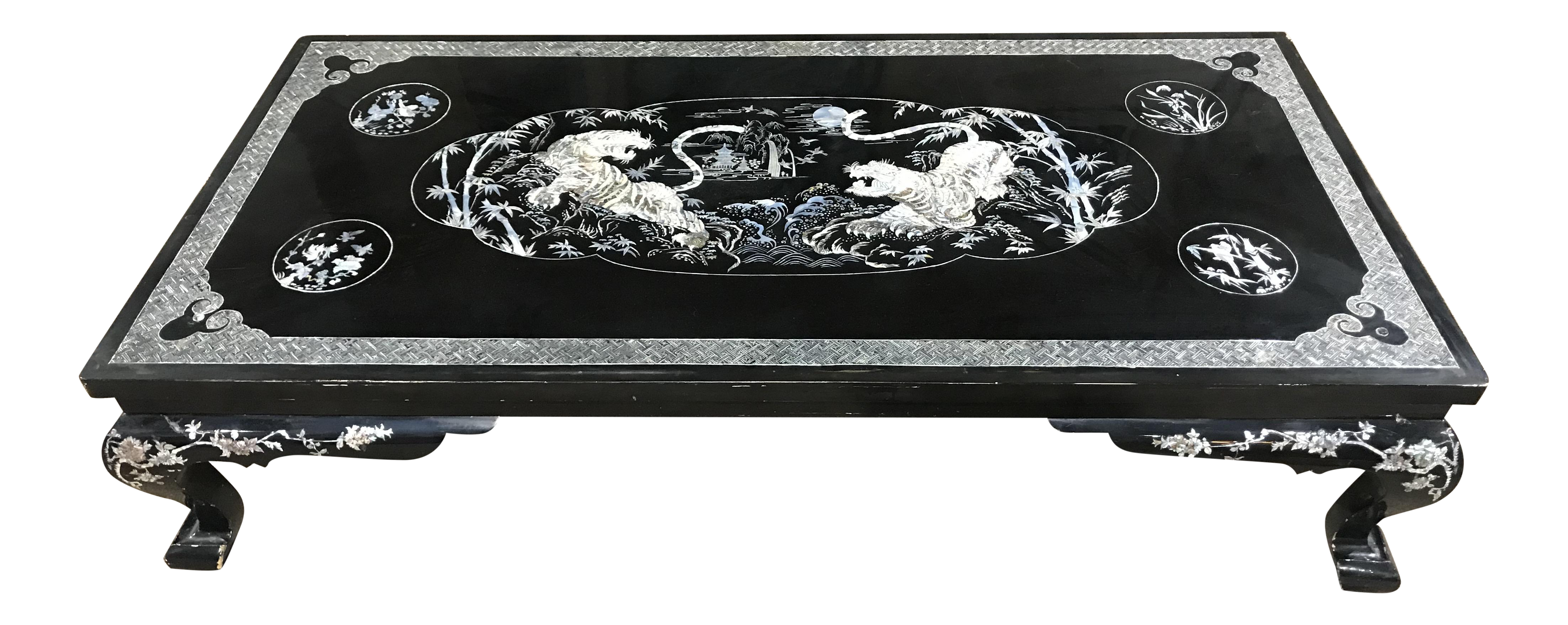 Chinoiserie Mother Of Pear Tiger Coffee Table