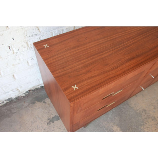 Metal Merton Gershun for American of Martinsville Mid-Century Modern Walnut Long Dresser or Credenza For Sale - Image 7 of 11