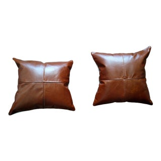 Saddle Brown Leather Pillows - A Pair