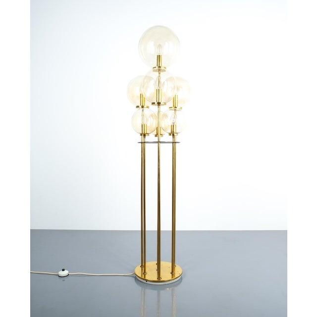 Glashütte Limburg Brass Glass Floor Lamp, Germany 1960 For Sale - Image 10 of 10