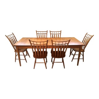 1990s American Classical Athol Birch Dining Set - 7 Pieces