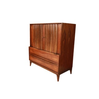 Mid Century High Boy Gentleman's Chest Dresser Louvered Front For Sale