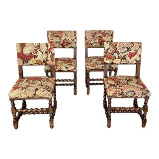Set of Four 19th Century French Renaissance Barley Twist Chairs With Tapestry For Sale