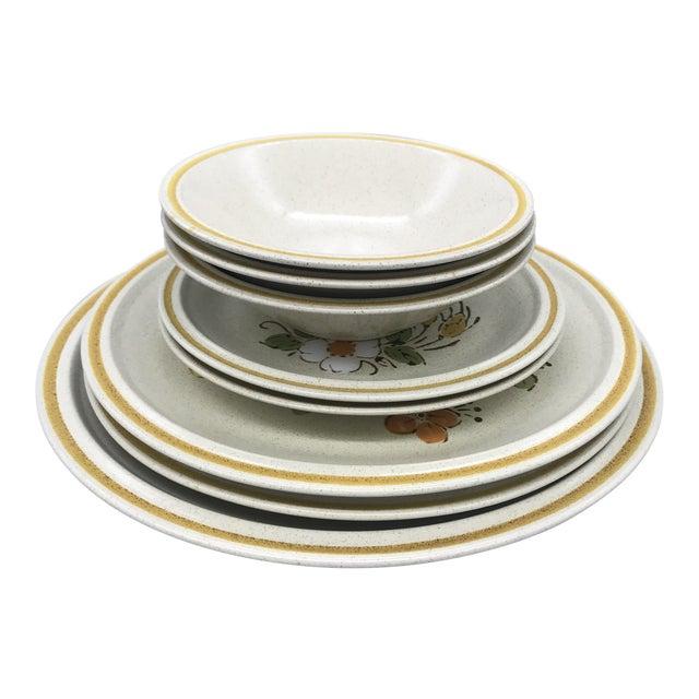 Hearthside Garden Festival's Sunshine Flowers Chop & Dinner Plates & Garden Festival Salad Plates - 9 Pieces For Sale