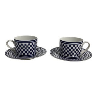 1994 Classic Checks Checkerboard Blue Coffee/Tea Cups Set of 2 For Sale