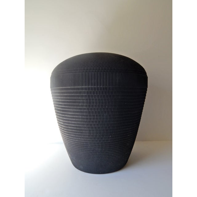 Modern Black Corrugated Vase by Charlotte and Jerry Garfinkle of Flute Inc., a 1980's Chicago-based design and...