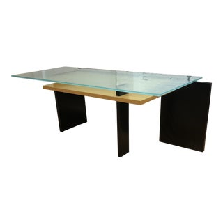Custom Modern Frosted Glass + Wood Desk For Sale