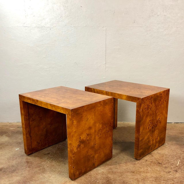 1970s Mid Century Modern Milo Baughman Burl Wood Side Tables A
