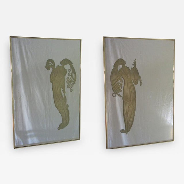 Gold Maurice Villency Deco Style Mirrors W/ Light-Up Figures - a Pair For Sale - Image 8 of 10