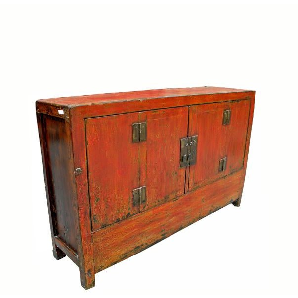 Asian 1950s Asian Modern Red Dongbei Wedding Cabinet For Sale - Image 3 of 7