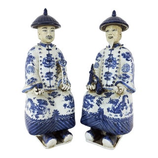 Chinese Porcelain Blue & White Figures, Fujian Guild Marked Statues - a Pair For Sale