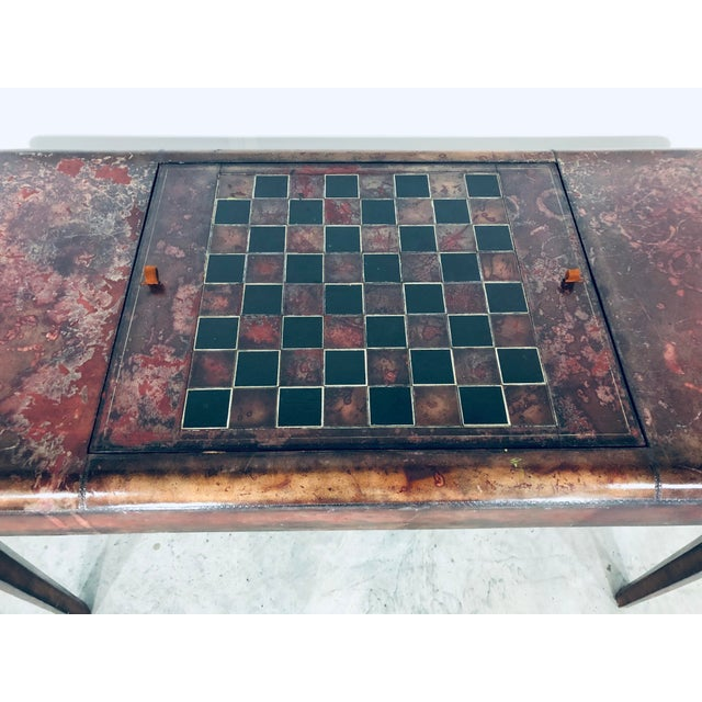 Wood Mid-Century Modern Maitland Smith Distressed Leather Game Table For Sale - Image 7 of 13