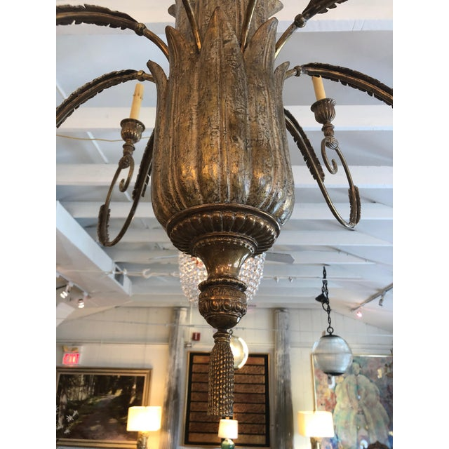 Gold Contemporary Large Gilded 9 Arm Chandelier For Sale - Image 8 of 9