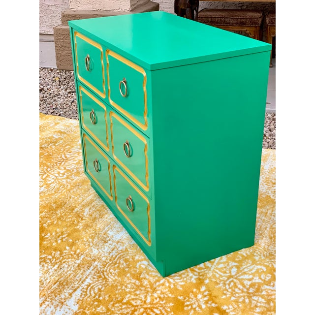 Hollywood Regency Vintage Mid Century Dorothy Draper Style Three Drawer Chest For Sale - Image 3 of 7