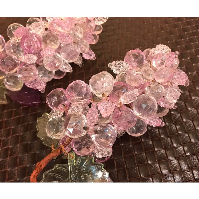 Pink & Clear Faceted Lucite Grapes - A Pair - Image 9 of 9