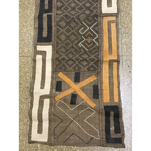 "African Tribal Art Handwoven Kuba Cloth Panel from DRC - 22"" x 54"" - Image 4 of 6"