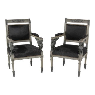 Mid 19th Century Vintage Neoclassical Painted Arm Chairs- A Pair For Sale