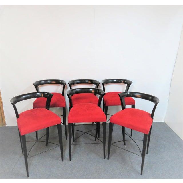 Modern Design Custom Red Upholstered Lacquered Bar Stool Set of 3 For Sale - Image 4 of 8