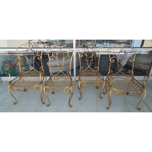 French French Moderne Gold Gilt Iron Chairs by Jean-Charles Moreux - Set of 4 For Sale - Image 3 of 10