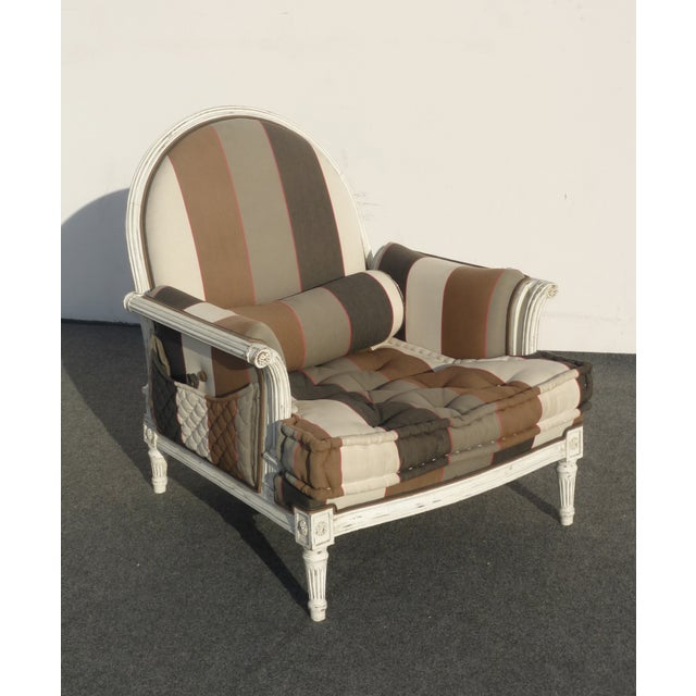 French Provincial Striped Upholstery Arm Chair - Image 4 of 11