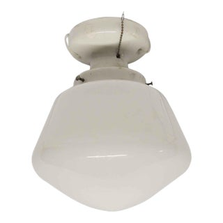 Simple School House Milk Glass Globe With Porcelain Fitter For Sale