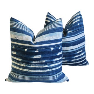 "Boho Chic Indigo Blue & White Mali Tribal Feather/Down Pillows 22"" - Pair"