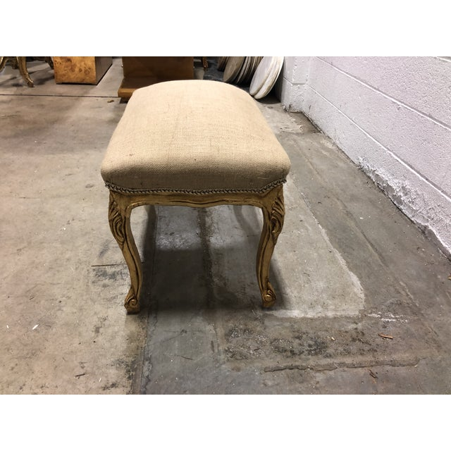 Vintage Ornate Louis XV Giltwood Curved Top Ottoman For Sale - Image 4 of 5