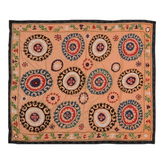 "Uzbek Suzani Peach Cotton Wool Textile - 6x6'11"" For Sale"