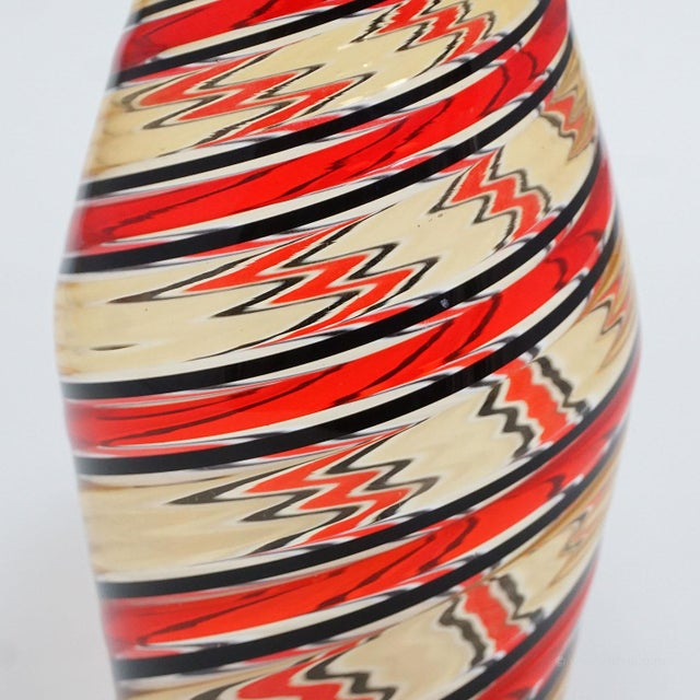 Italian Fratelli Toso 'a Canne' Vase In Red, Yellow And Black, Murano, Italy Ca. 1965 For Sale - Image 3 of 9
