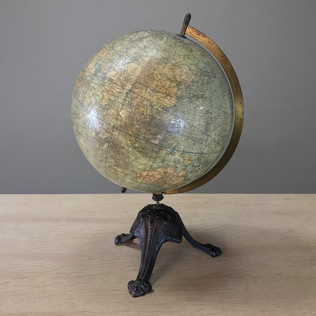 Antique French Paper MacheÕ World Globe on Painted Cast Iron Stand For Sale - Image 11 of 11