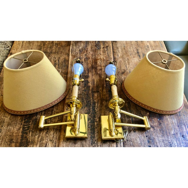 Phoenix Day Phoenix Day Polished Brass Swing Arm Sconces - a Pair For Sale - Image 4 of 4