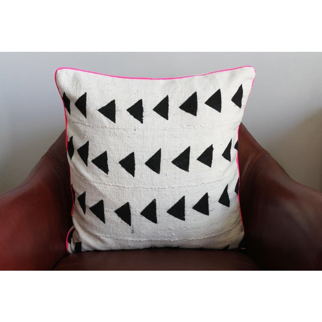 Mudcloth With Neon Trim Throw Pillow For Sale - Image 4 of 4