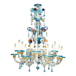 Venetian Blue Murano Glass Chandelier For Sale