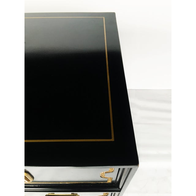 Paint Vintage Black and Gold Dorothy Draper Style Chest For Sale - Image 7 of 11