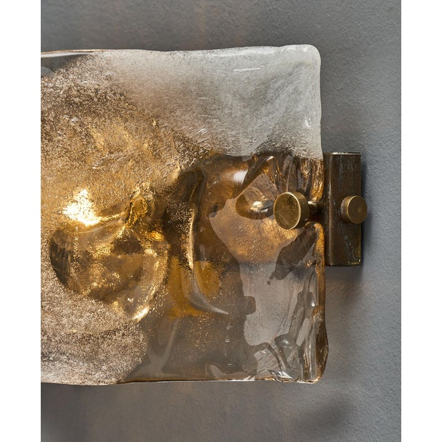 Blown Glass Set of Four Murano Glass Mazzega Sconces For Sale - Image 7 of 9