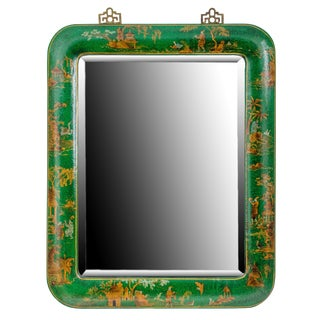 20th Century Chinoiserie Painted Green Leather Mirror For Sale