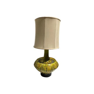 Midcentury Citron Green Drip Glaze Table Lamp For Sale