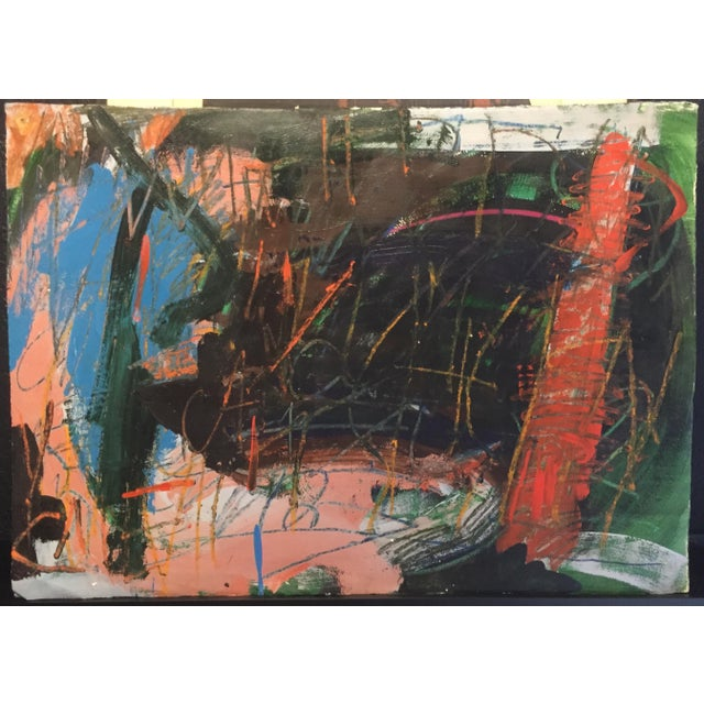 1970s Berkeley Artist Vannie Keightly Mixed Media Abstract Painting - Image 2 of 8