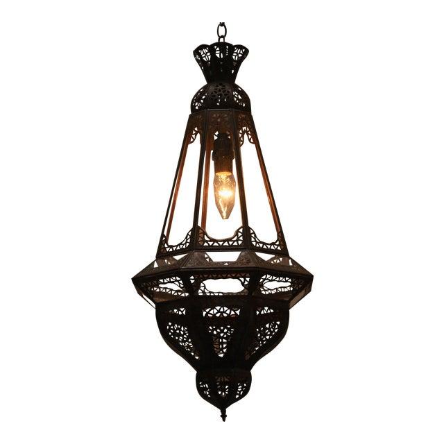 Moroccan Moorish Clear Glass Metal Pendant For Sale