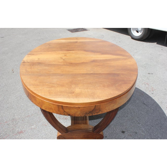 French Art Deco Solid Walnut Oval Dining Table ''U'' Legs Base Circa 1940s For Sale - Image 9 of 13