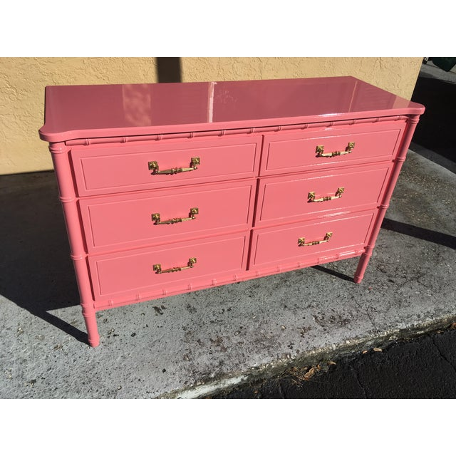 Hollywood Regency Lacquered Pink Faux Bamboo 6 Drawer Lowboy Dresser For Sale - Image 12 of 12