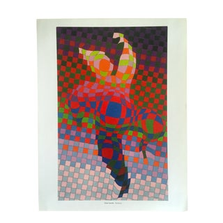"Victor Vasarely Vintage Op Art Modernist Lithograph Print "" Harlequin "" 1936 For Sale"