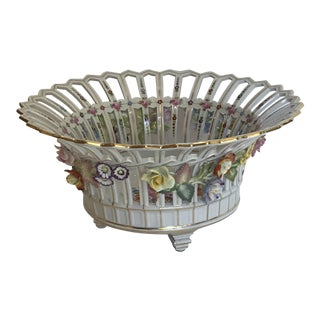 Pierced Dresden Centerpiece Berry Bowl with Flowered Garlands For Sale