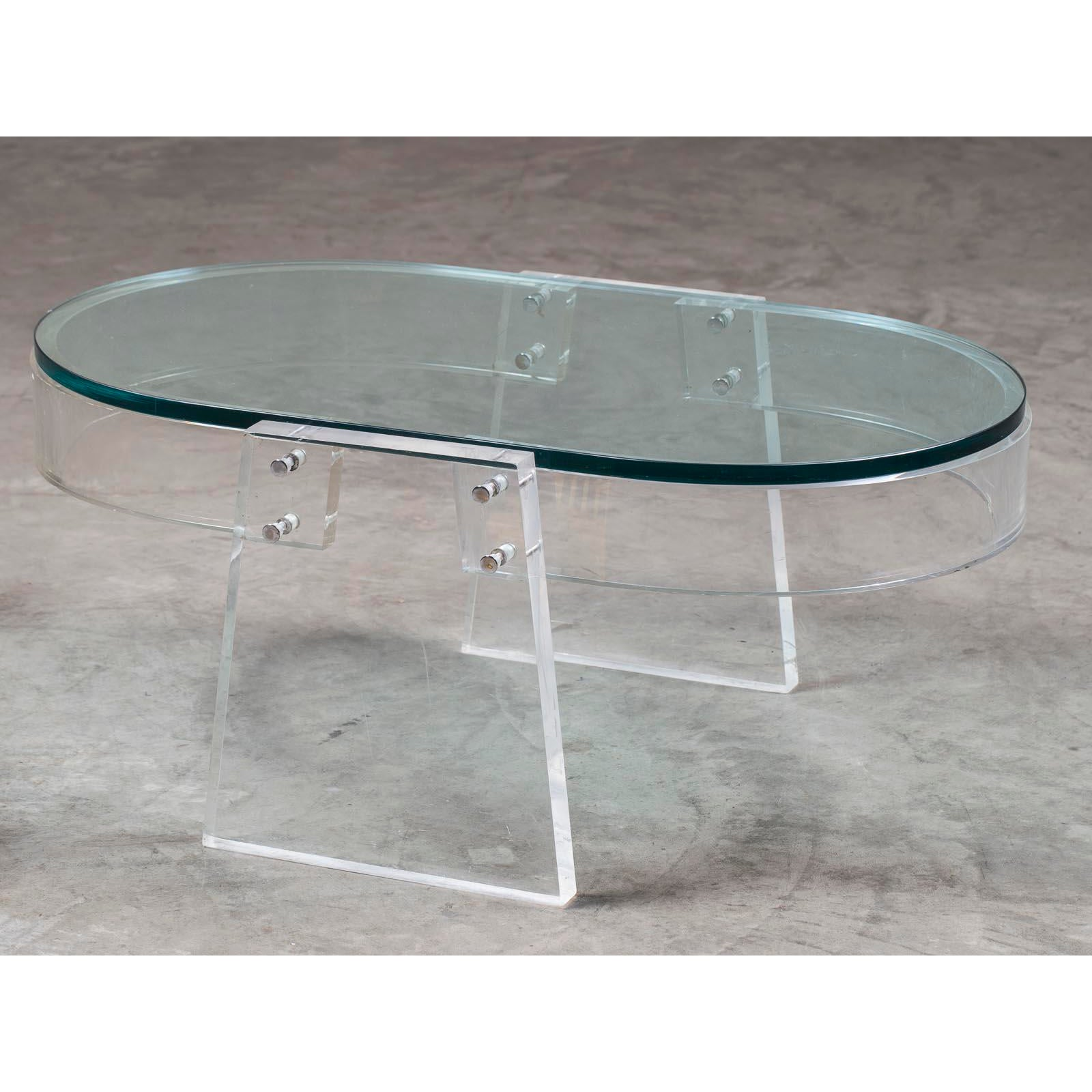 Italian Glass Coffee Table.Modern Italian Lucite Glass Coffee Table Circa 1990
