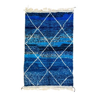 1990s Blue Moroccan Rug - 6′4″ × 10′ For Sale