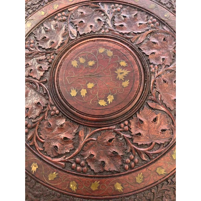 1940s Sized Round Moorish Anglo-Indian End Table For Sale - Image 5 of 8