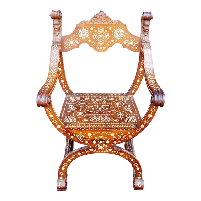 Moroccan Inlaid Savonarola Chair - Image 1 of 11