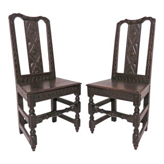 19th Century Hand Carved Flemish Side Chairs - a Pair For Sale