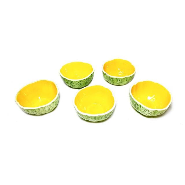 Boho Chic 1960s Vintage Mid Century Cantaloupe Ceramic Bowls - Set of 5 For Sale - Image 3 of 3