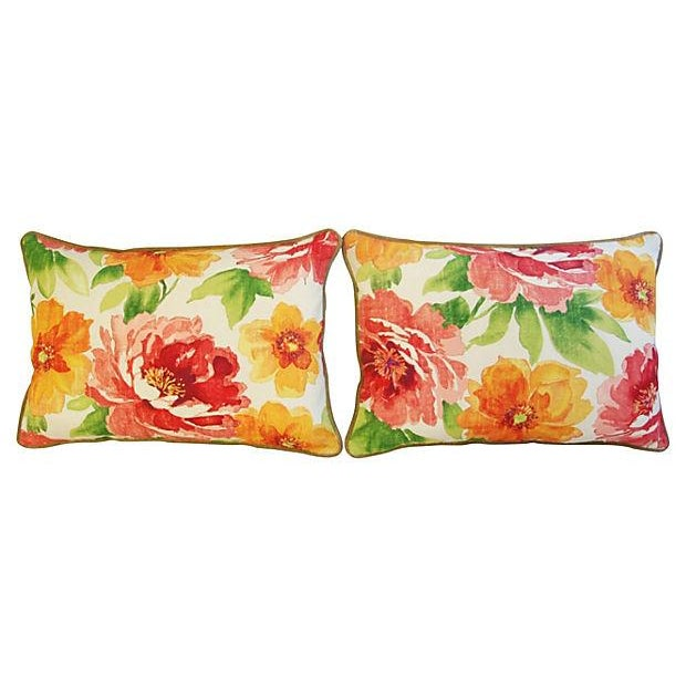 """Boho Chic Custom Floral & Scalamandre Velvet Feather/Down Pillows 26"""" X 18"""" - Pair For Sale - Image 3 of 9"""